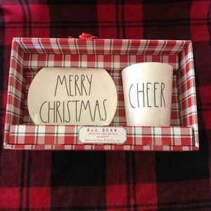 "Rae Dunn NWT ""Merry Christmas"" Plate & Tumbler Set"
